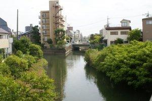 現在の坂川・六間川・樋古根川の合流地点