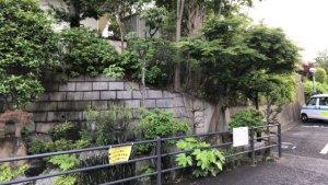 竹ケ花雷電湧水敷地入口方面を見る